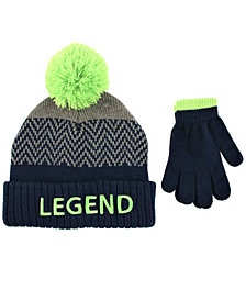 ABG Accessories Toddler Boys 2 Piece Legend Pom Pom Hat with Matching Gloves Set