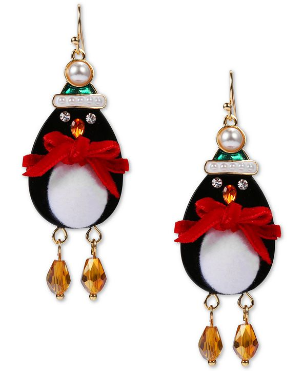 INC International Concepts INC Gold-Tone Crystal & Imitation Pearl Penguin Drop Earrings, Created for Macy's