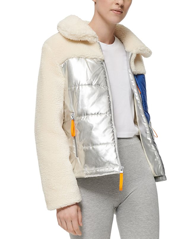 Marc New York Mixed-Media Fleece Puffer Coat