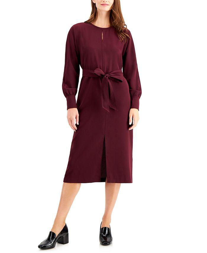 Alfani - Long-Sleeve Tie-Waist Dress
