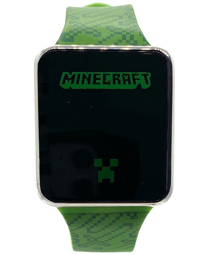Accutime - Kid's Minecraft Green Silicone Strap Touchscreen Smart Watch 36x33mm