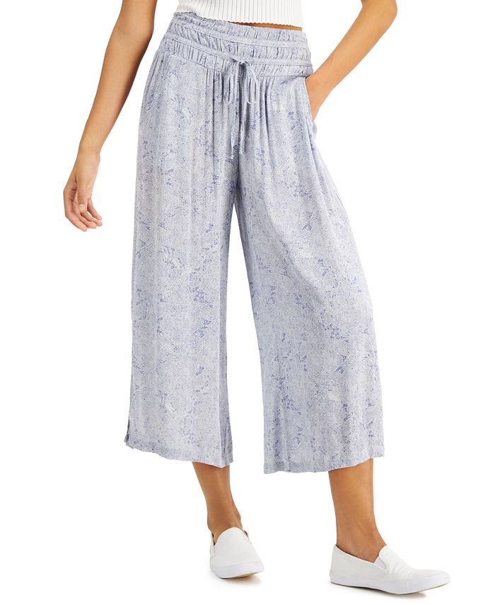 Rewash - Juniors' Smocked Cropped Wide-Leg Pants
