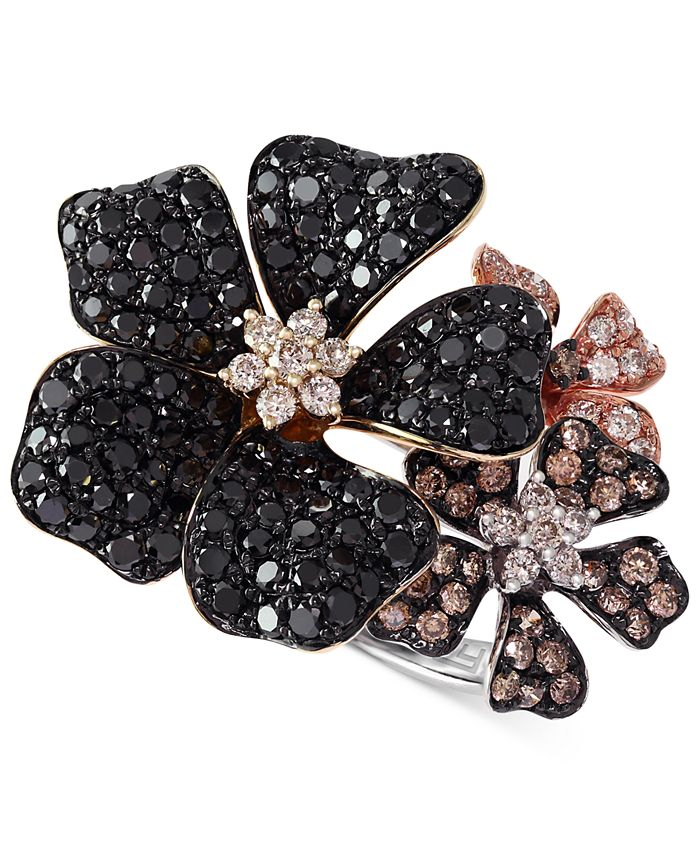 EFFY Collection - Multicolor Diamond Flower Ring (2 ct. t.w.) in 14k Gold