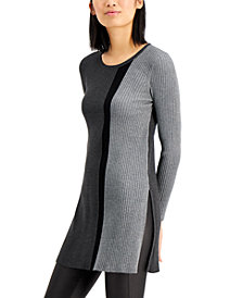 Alfani Colorblocked Tunic Sweater, Regular & Petite Sizes, Created for Macy's