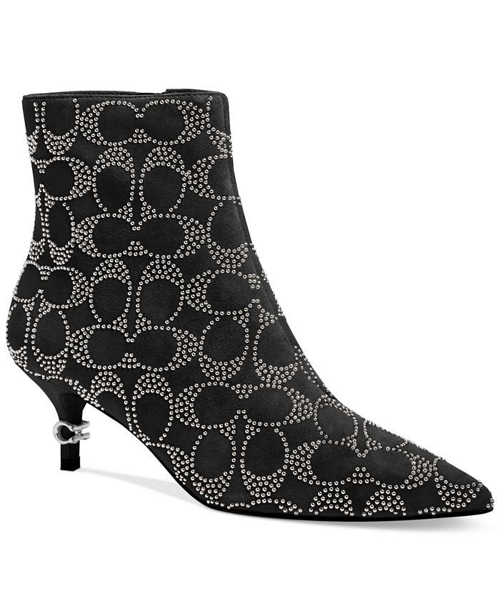 COACH - Women's Jewel Kitten-Heel Logo-Studded Booties