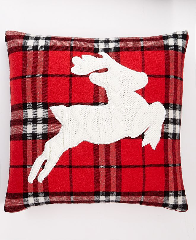 "Martha Stewart Collection Tartan Plaid Deer 18"" x 18"" Decorative Pillow, Created For Macy's"