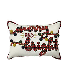 """Merry & Bright 14"""" x 20"""" Decorative Pillow, Created For Macy's"""