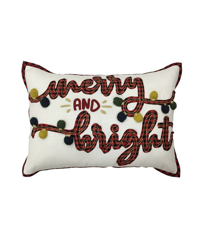 "Martha Stewart Collection Merry & Bright 14"" x 20"" Decorative Pillow, Created For Macy's"