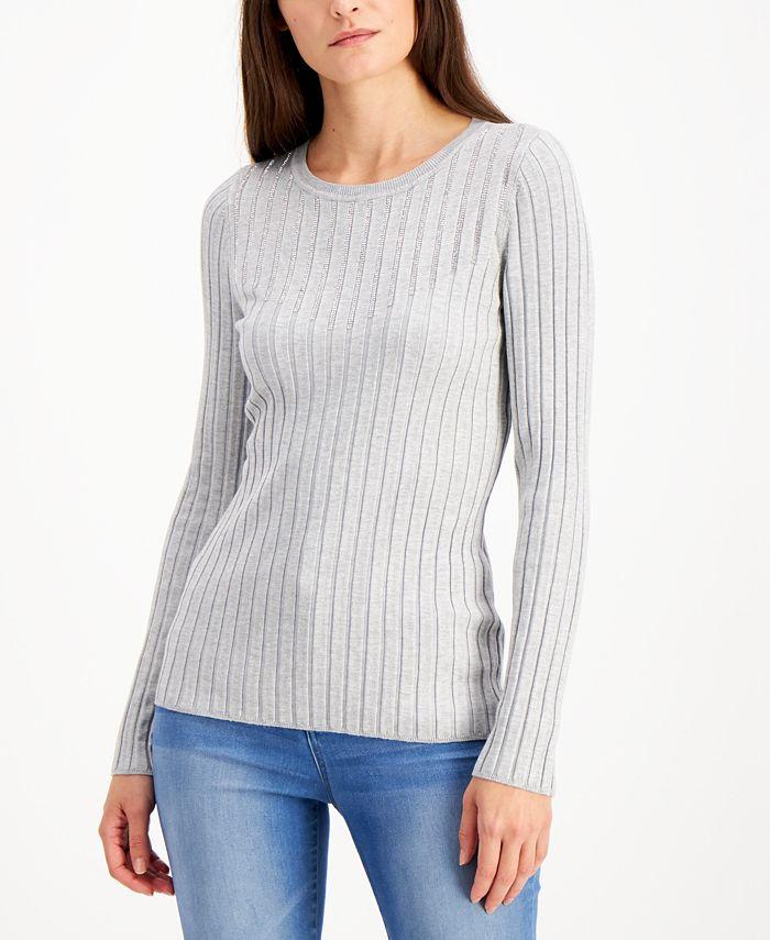 INC International Concepts - Rhinestone Crewneck Sweater