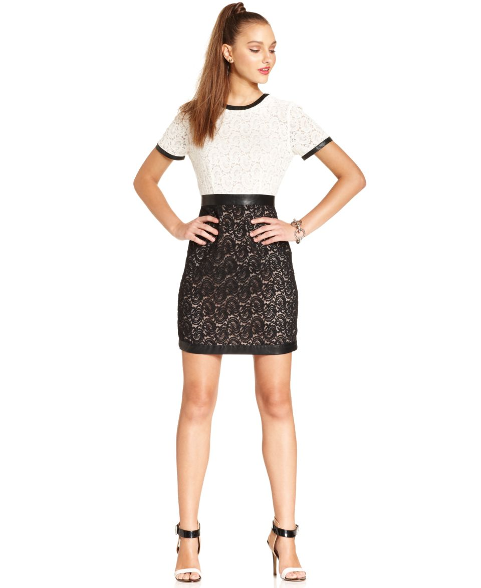 W118 by Walter Baker Dress, Ezra Short Sleeve High Neck Lace Faux Leather   Dresses   Women