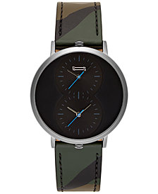 Uri Minkoff Men's Griffith Camouflage Leather Strap Watch 43mm