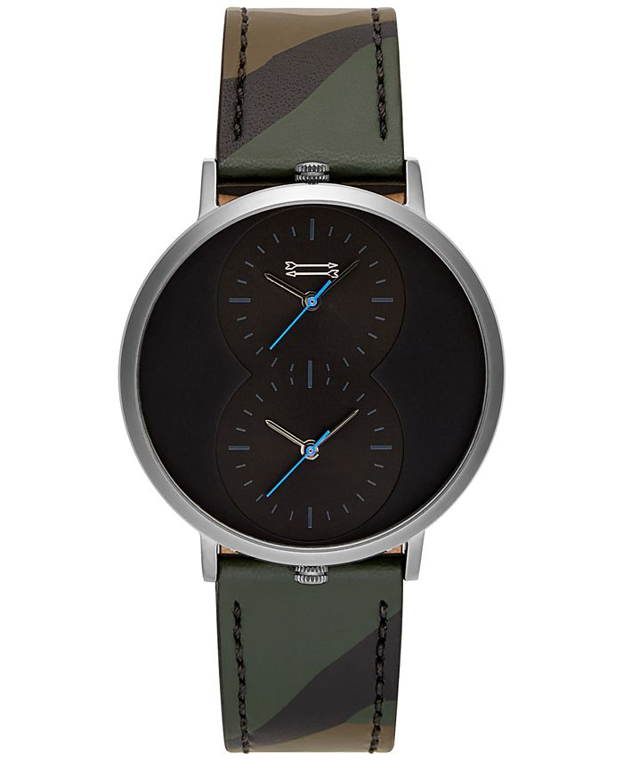 Uri Minkoff - Men's Griffith Camouflage Leather Strap Watch 43mm