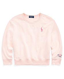 Polo Ralph Lauren Big Girls Pink Pony Fleece Sweatshirt