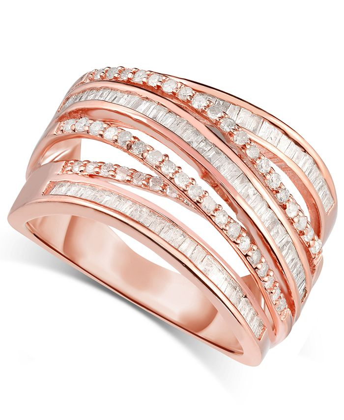 Macy's - Diamond Multi-Row Crossover Ring (1-1/4 ct. t.w.) in Rose Gold-Plated Sterling Silver
