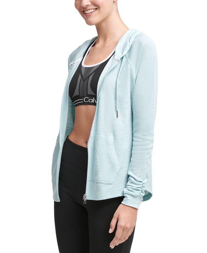 Calvin Klein - Ruched-Sleeve Zip Hoodie