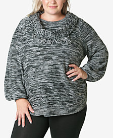 Adrienne Vittadini Women's Plus Size Sweater with Fringe Scarf
