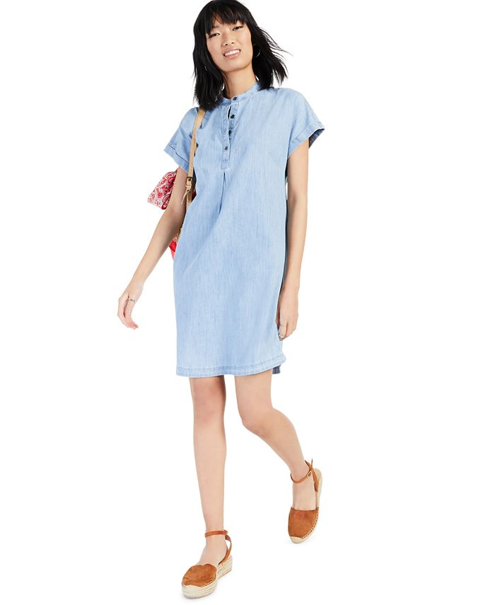 Style & Co - Chambray Mandarin Collar Shift Dress, Created for Macy's