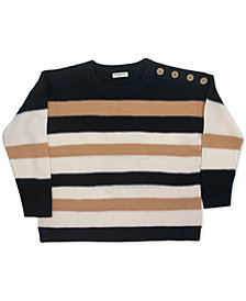FULL CIRCLE TRENDS Trendy Plus Size Striped Sweater