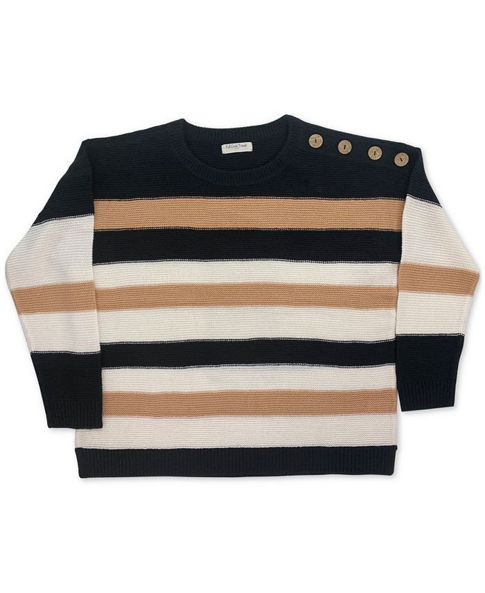 FULL CIRCLE TRENDS - Trendy Plus Size Striped Sweater