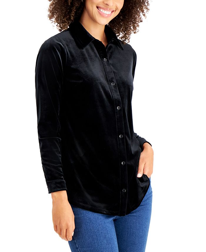 Charter Club - Petite Velour Collared Button-Down Shirt