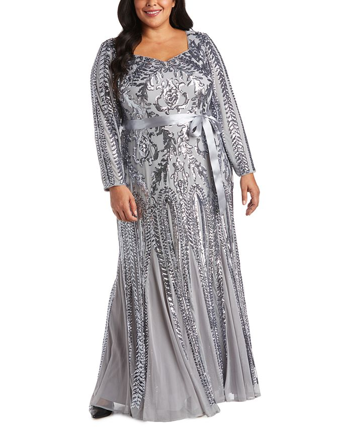 R & M Richards - Plus Size Godet Sequin Gown