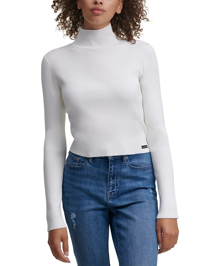 Calvin Klein Jeans - Cropped Mock-Neck Sweater