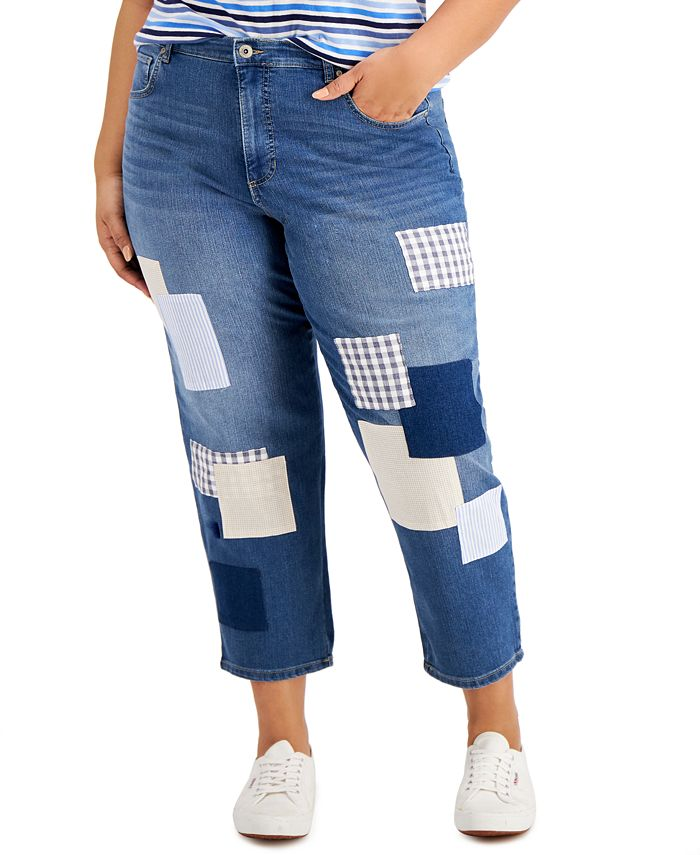 Style & Co - Plus Size Patchwork Jeans