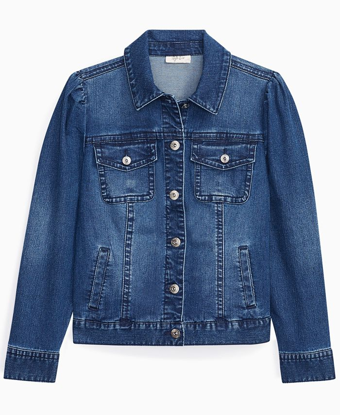 Style Co Petite Puff Sleeve Denim Jacket Created For Macy S Reviews Jackets Blazers Petites Macy S