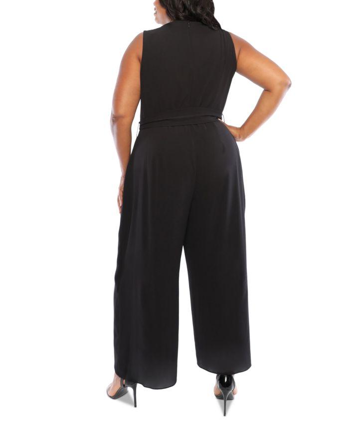London Times Plus Size Split-Leg Jumpsuit & Reviews - Dresses - Plus Sizes - Macy's