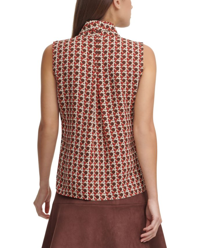 Tommy Hilfiger Printed Button-Down V-Neck Top & Reviews - Tops - Women - Macy's