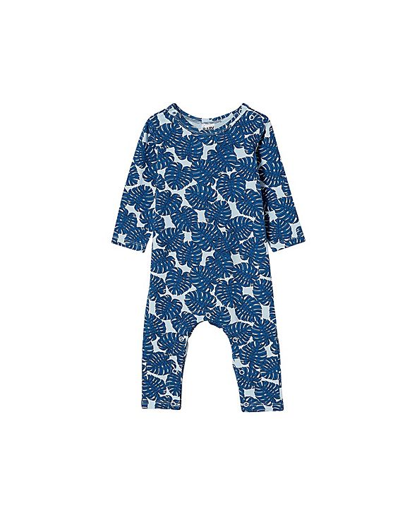 COTTON ON Baby Boys and Girls The Long Sleeve Snap Romper