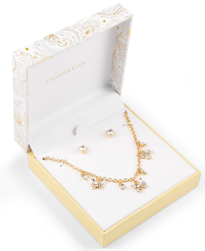 Charter Club Gold-Tone Crystal Butterfly Statement Necklace & Stud Earrings Set, Created for Macy's & Reviews - Fashion Jewelry - Jewelry & Watches - Macy's