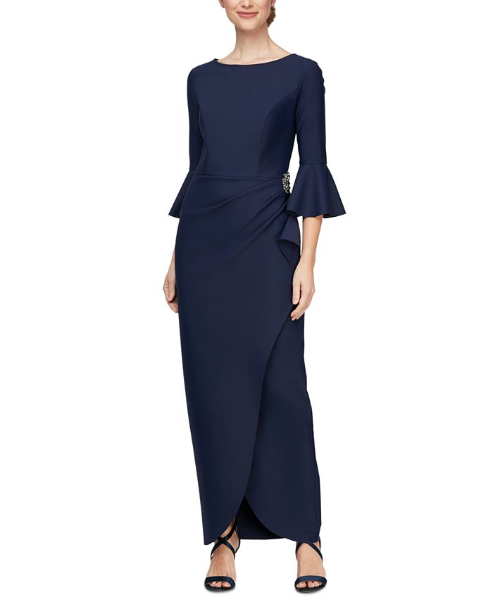 Alex Evenings - Scuba Bell-Sleeve Gown