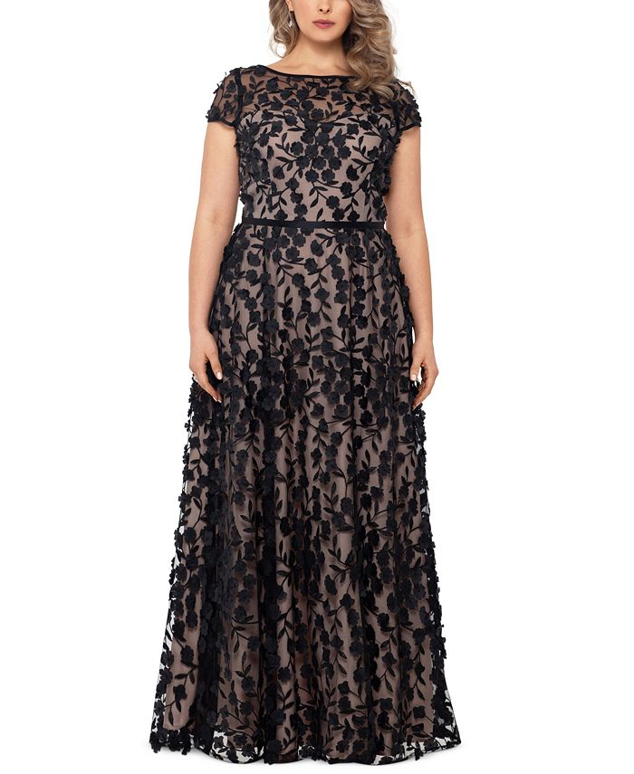 XSCAPE - Plus Size 3D-Flower Gown