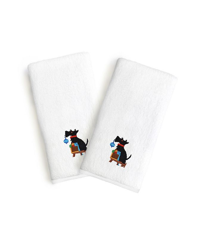 Linum Home Textiles Embroidered Luxury Hand Towels - Christmas Dog Set of 2