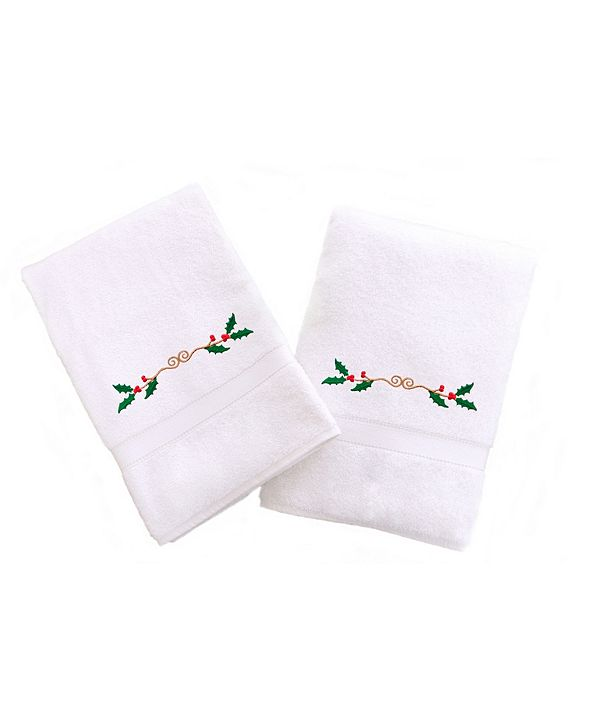 Linum Home Textiles Embroidered Hand Towels with Holly Border Set of 2