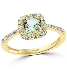 EFFY® Green Quartz (3/4 ct. t.w.) & Diamond (1/8 ct. t.w.) Ring in 14k Gold
