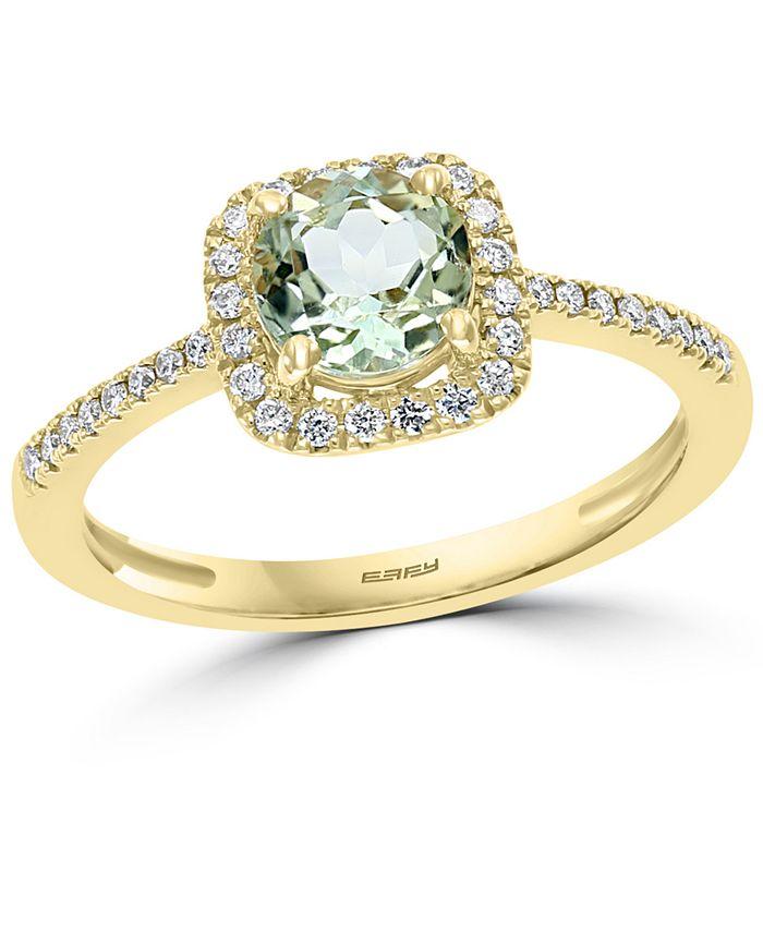 EFFY Collection - Green Quartz (3/4 ct. t.w.) & Diamond (1/8 ct. t.w.) Ring in 14k Gold