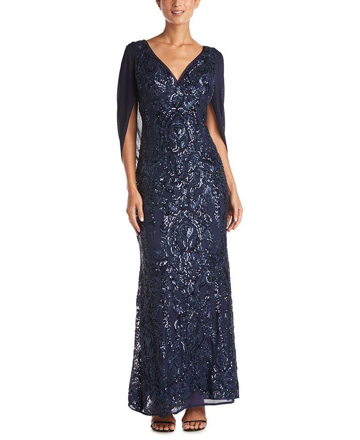 R & M Richards - Sequin Drape-Back Cape Gown