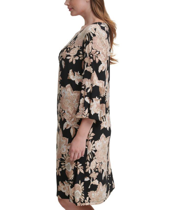 Tommy Hilfiger Plus Size Floral-Print Fit & Flare Dress & Reviews - Dresses - Plus Sizes - Macy's
