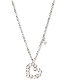 "AVA NADRI Cubic Zirconia Charm & Imitation Pearl Open Heart Pendant Necklace, 16"" + 2"" extender"