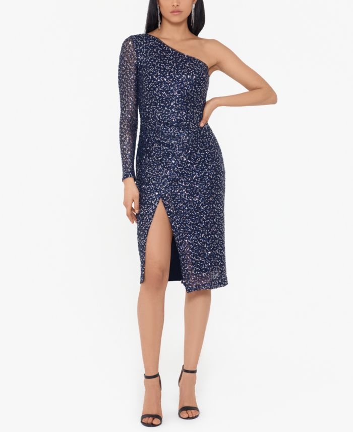 Betsy & Adam Sequin One-Shoulder Dress & Reviews - Dresses - Women - Macy's