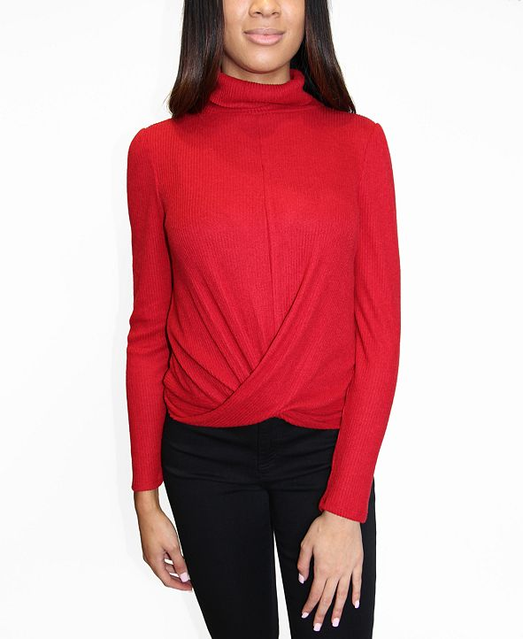 Crave Fame Juniors Turtleneck Twisted-Hem Top
