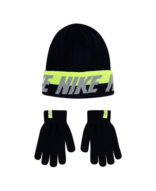 Nike Big Boys Beanie and Gloves Set