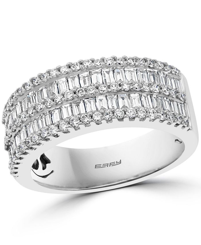 EFFY Collection - Diamond Baguette Double Row Ring (1-1/3 ct. t.w.) in 14k White Gold