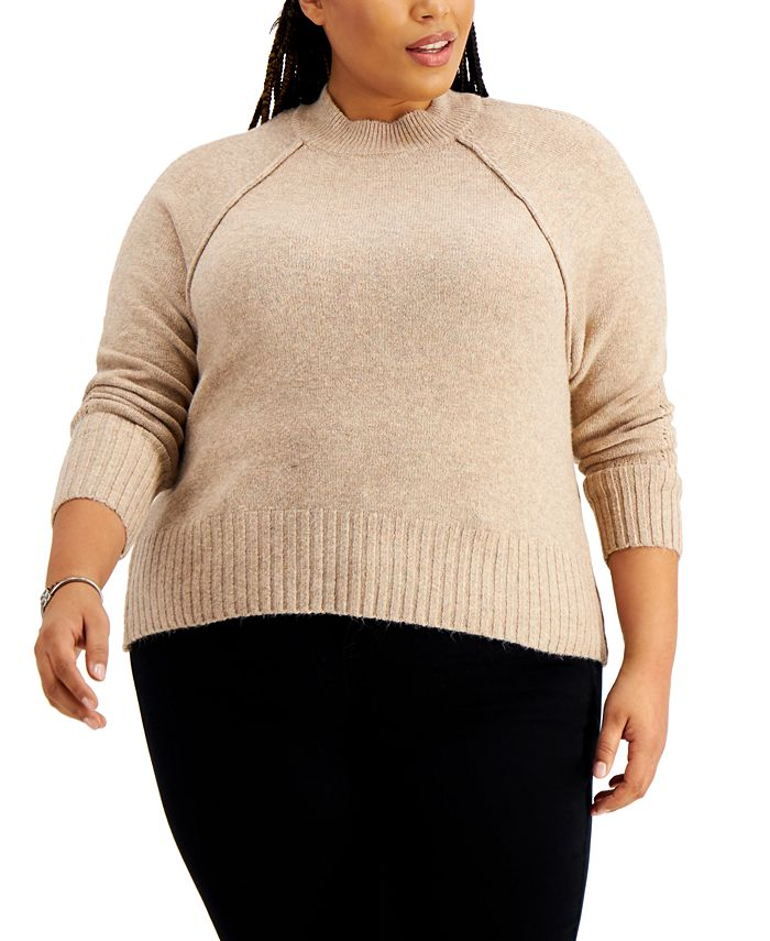 FULL CIRCLE TRENDS - Trendy Plus Size Mock-Neck Sweater