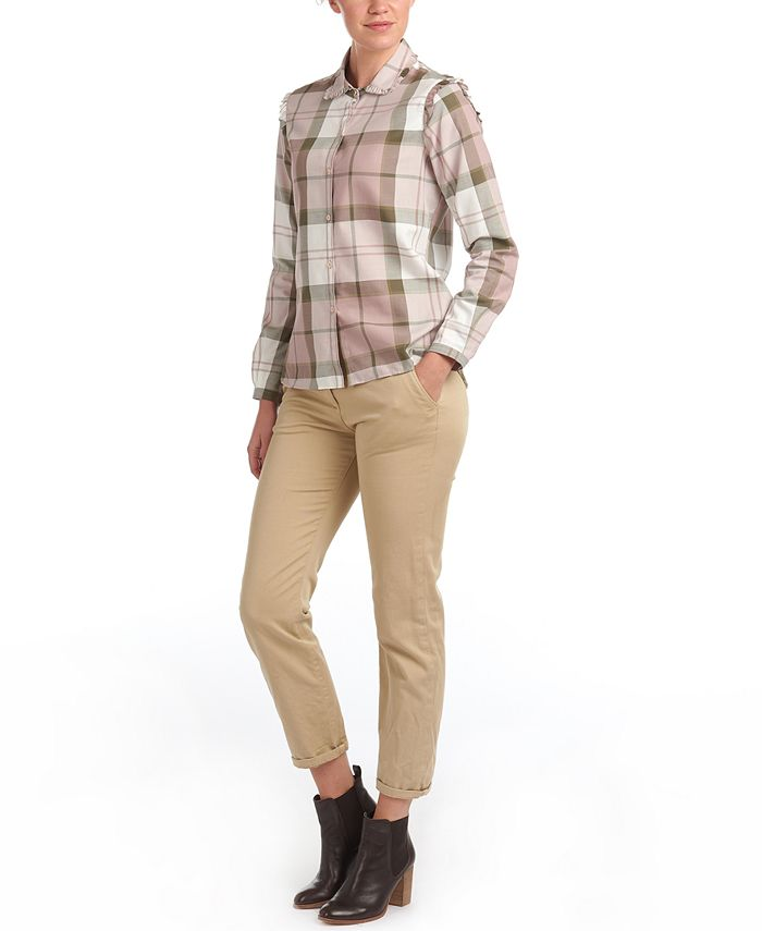 Barbour - Norwood Plaid Ruffled Button-Down Shirt