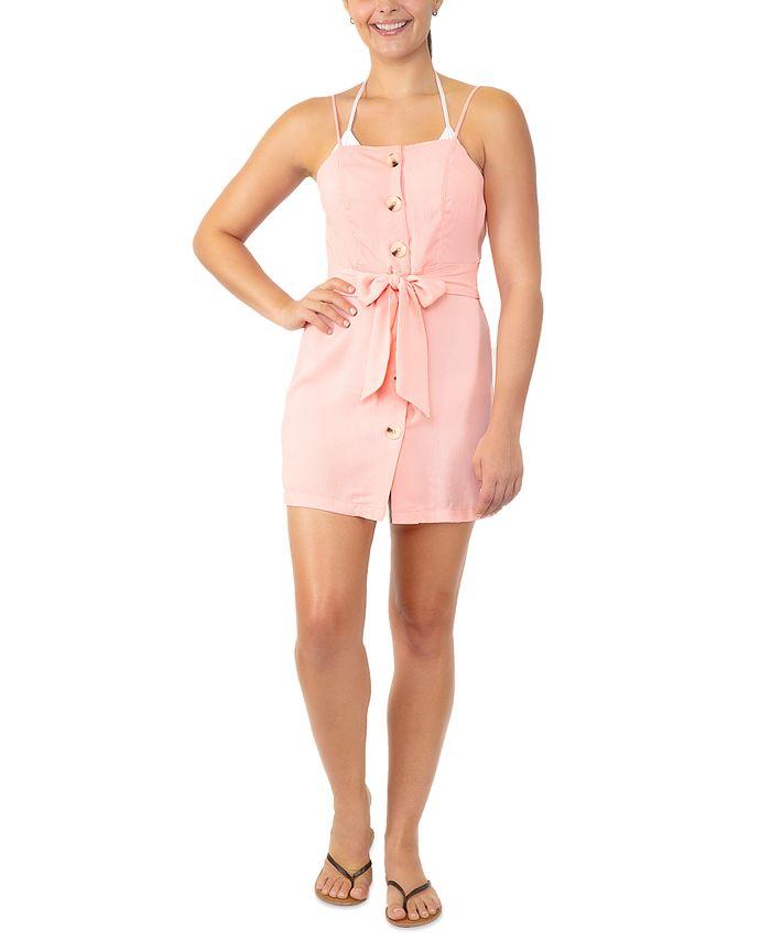 Miken - Juniors' Tie-Waist Button-Front Cover-Up Dress