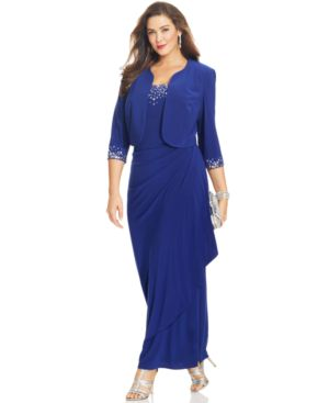 Alex Evenings Plus Size Dress, Sleeveless Jewel-Neck Faux-Wrap Gown