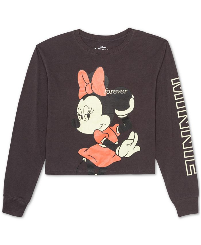 Disney - Juniors' Forever Minnie Long-Sleeved Graphic T-Shirt